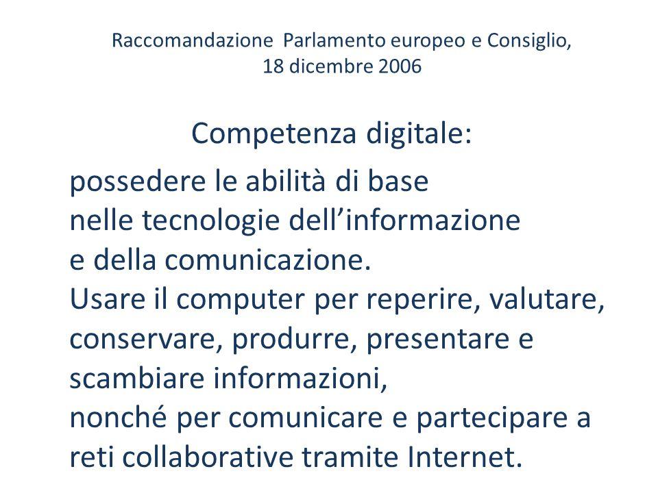 Raccomandazione Parlamento europeo e Consiglio, 18 dicembre 2006