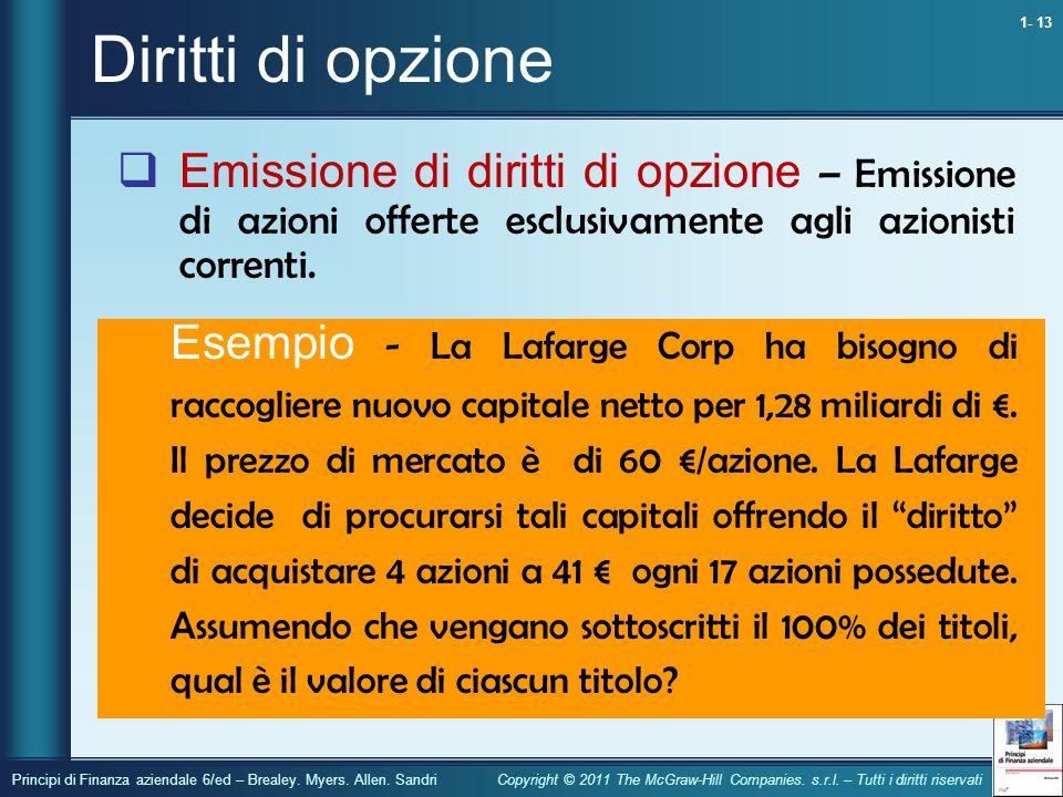 Diritti di opzione Emissione di diritti di opzione – Emissione di azioni offerte esclusivamente agli azionisti correnti.