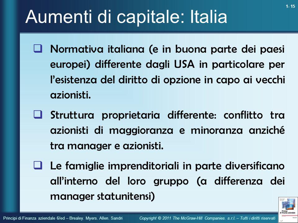 Aumenti di capitale: Italia