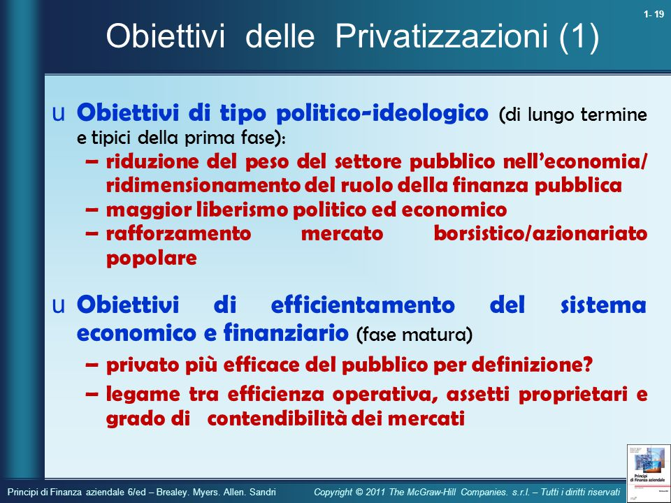 Obiettivi delle Privatizzazioni (1)
