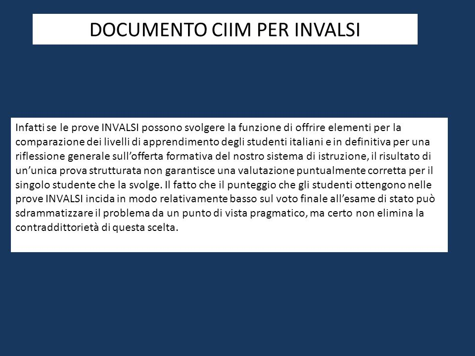 DOCUMENTO CIIM PER INVALSI