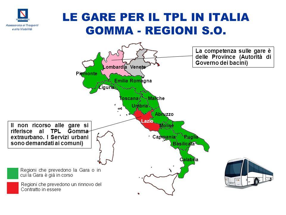 LE GARE PER IL TPL IN ITALIA GOMMA - REGIONI S.O.