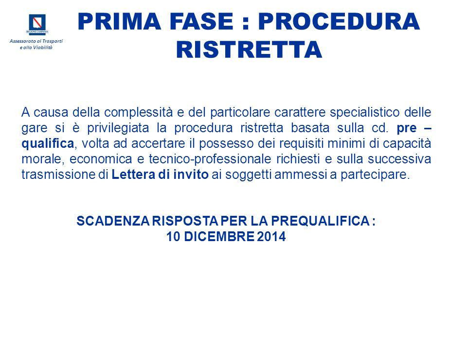 PRIMA FASE : PROCEDURA RISTRETTA