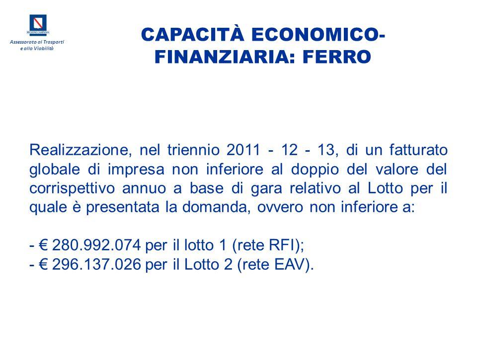 CAPACITÀ ECONOMICO-FINANZIARIA: FERRO