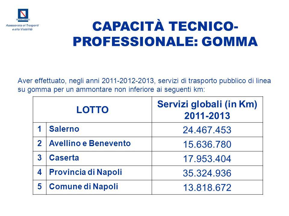 CAPACITÀ TECNICO-PROFESSIONALE: GOMMA