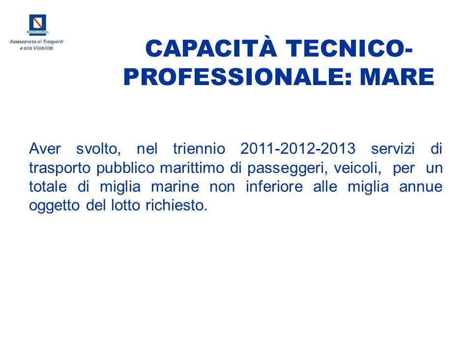 CAPACITÀ TECNICO-PROFESSIONALE: MARE