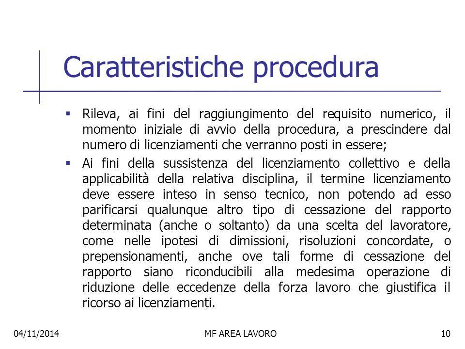 Caratteristiche procedura