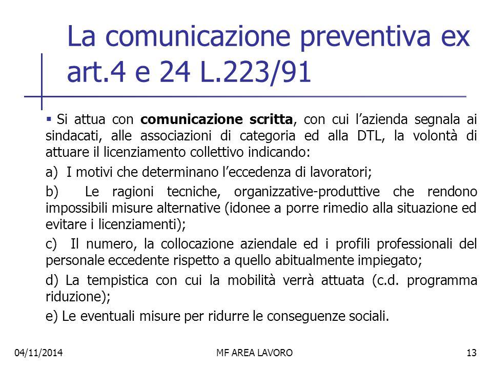 La comunicazione preventiva ex art.4 e 24 L.223/91