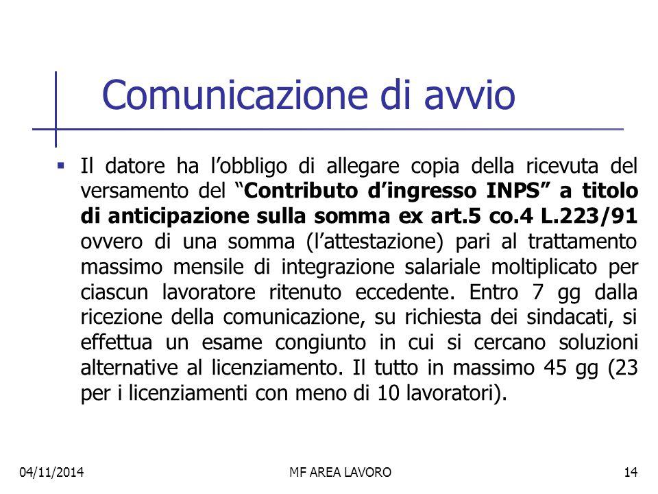 Comunicazione di avvio