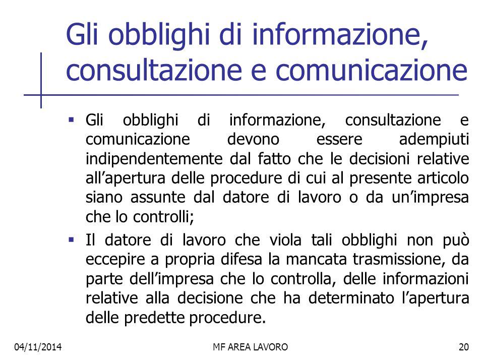 Gli obblighi di informazione, consultazione e comunicazione