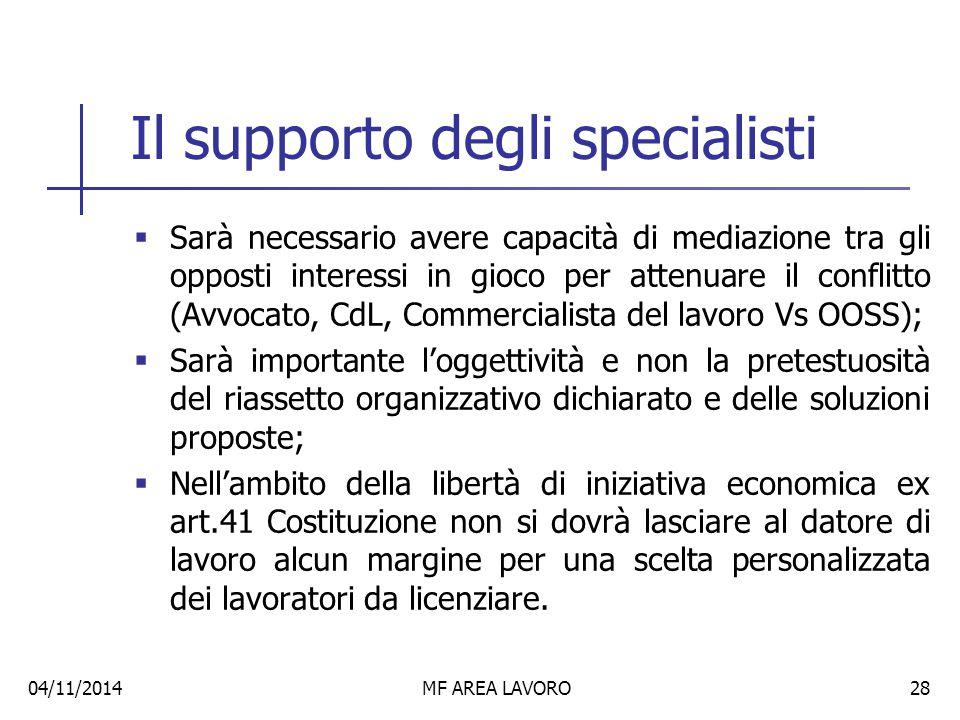 Il supporto degli specialisti