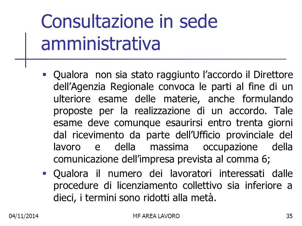 Consultazione in sede amministrativa