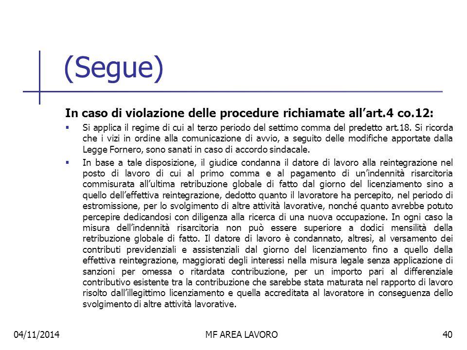 (Segue) In caso di violazione delle procedure richiamate all'art.4 co.12: