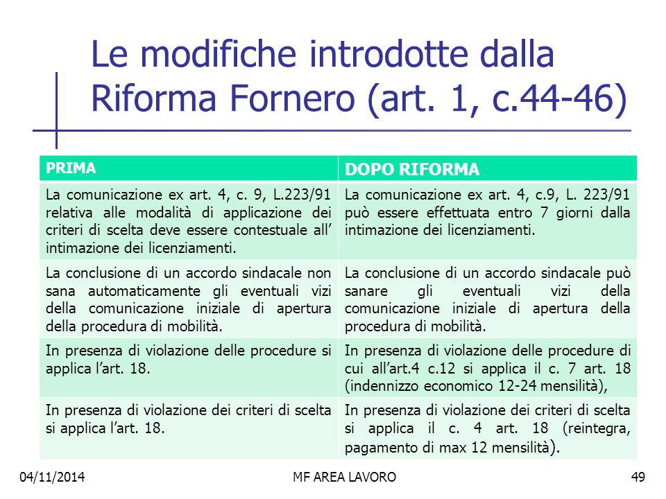 Le modifiche introdotte dalla Riforma Fornero (art. 1, c.44-46)