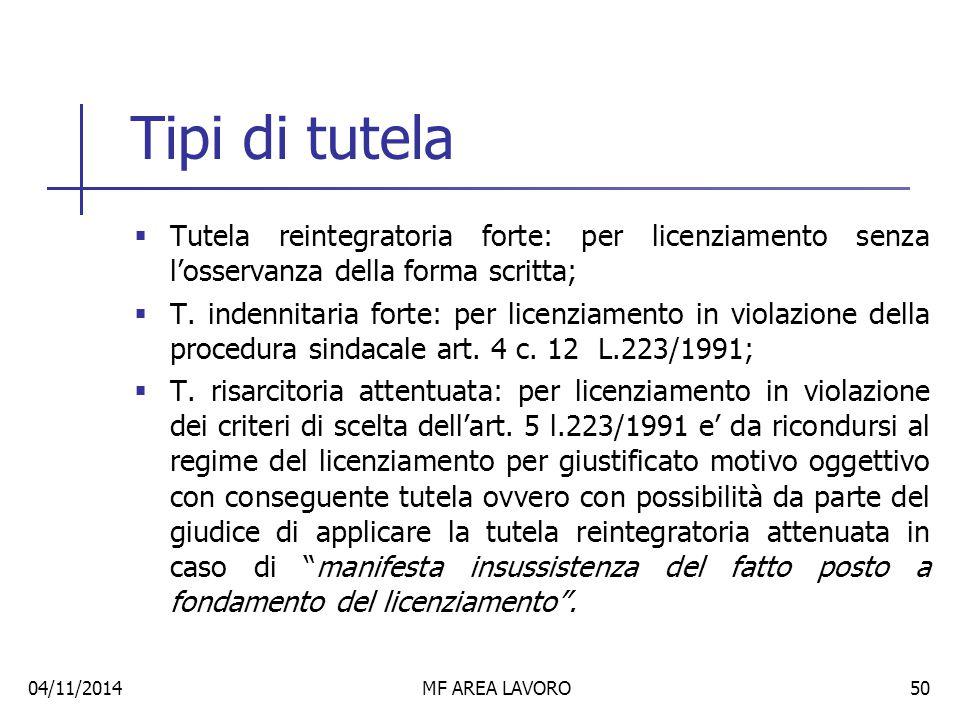 Tipi di tutela Tutela reintegratoria forte: per licenziamento senza l'osservanza della forma scritta;