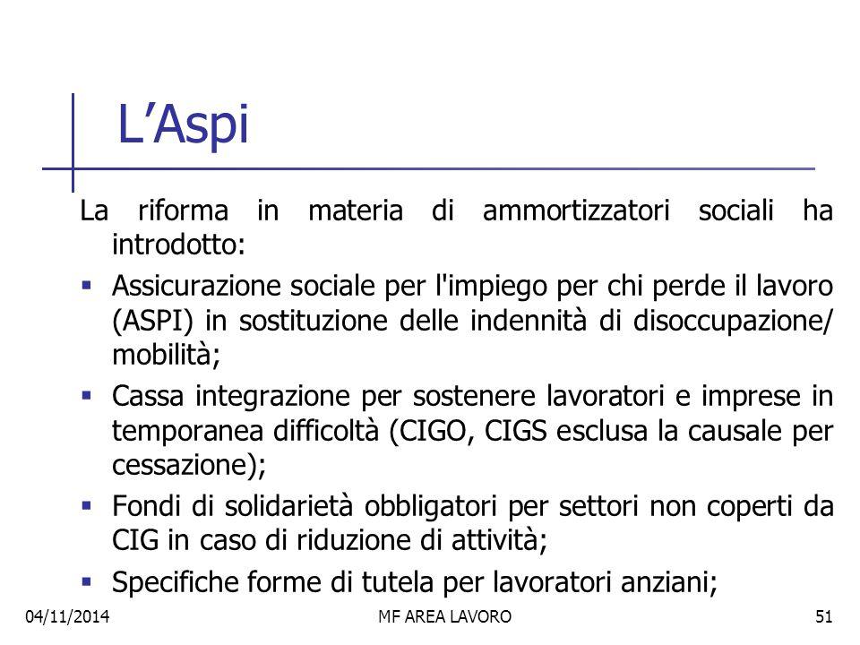 L'Aspi La riforma in materia di ammortizzatori sociali ha introdotto: