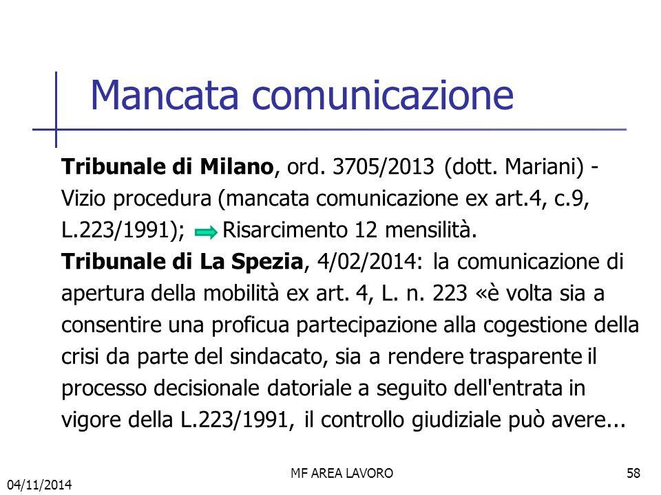 Mancata comunicazione