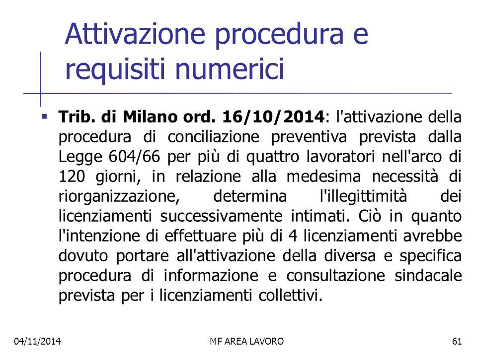 Attivazione procedura e requisiti numerici