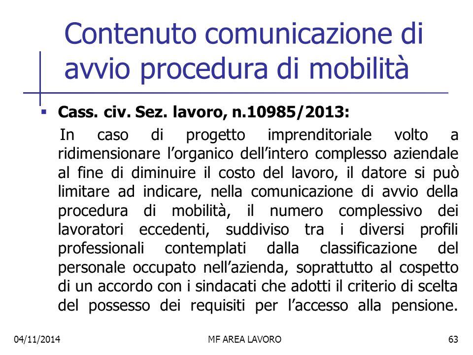 Contenuto comunicazione di avvio procedura di mobilità