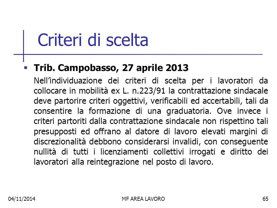 Criteri di scelta Trib. Campobasso, 27 aprile 2013