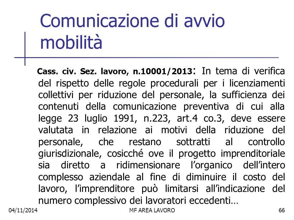 Comunicazione di avvio mobilità