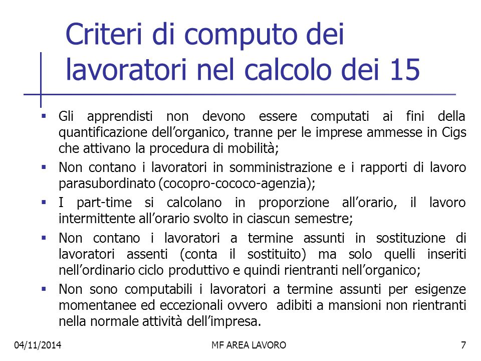 Criteri di computo dei lavoratori nel calcolo dei 15