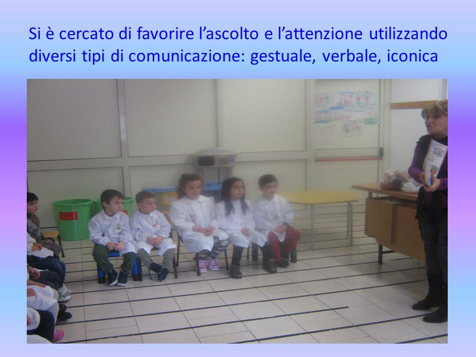 Si è cercato di favorire l'ascolto e l'attenzione utilizzando diversi tipi di comunicazione: gestuale, verbale, iconica