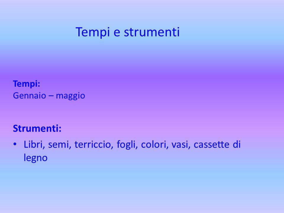 Tempi: Gennaio – maggio