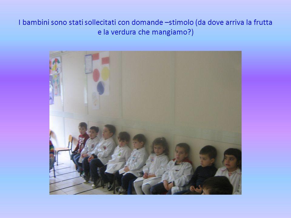 I bambini sono stati sollecitati con domande –stimolo (da dove arriva la frutta e la verdura che mangiamo )