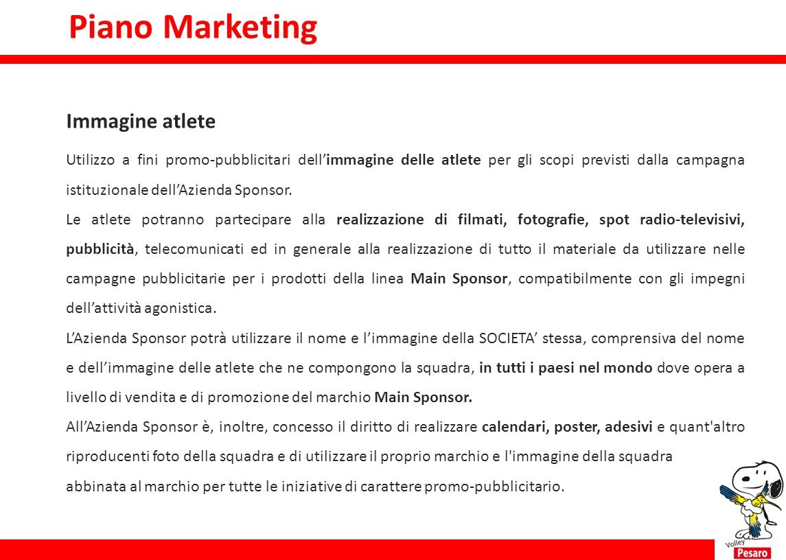 Piano Marketing Immagine atlete