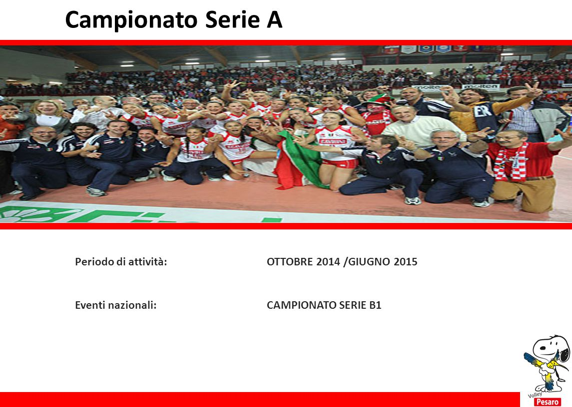 Campionato Serie A Periodo di attività: OTTOBRE 2014 /GIUGNO 2015