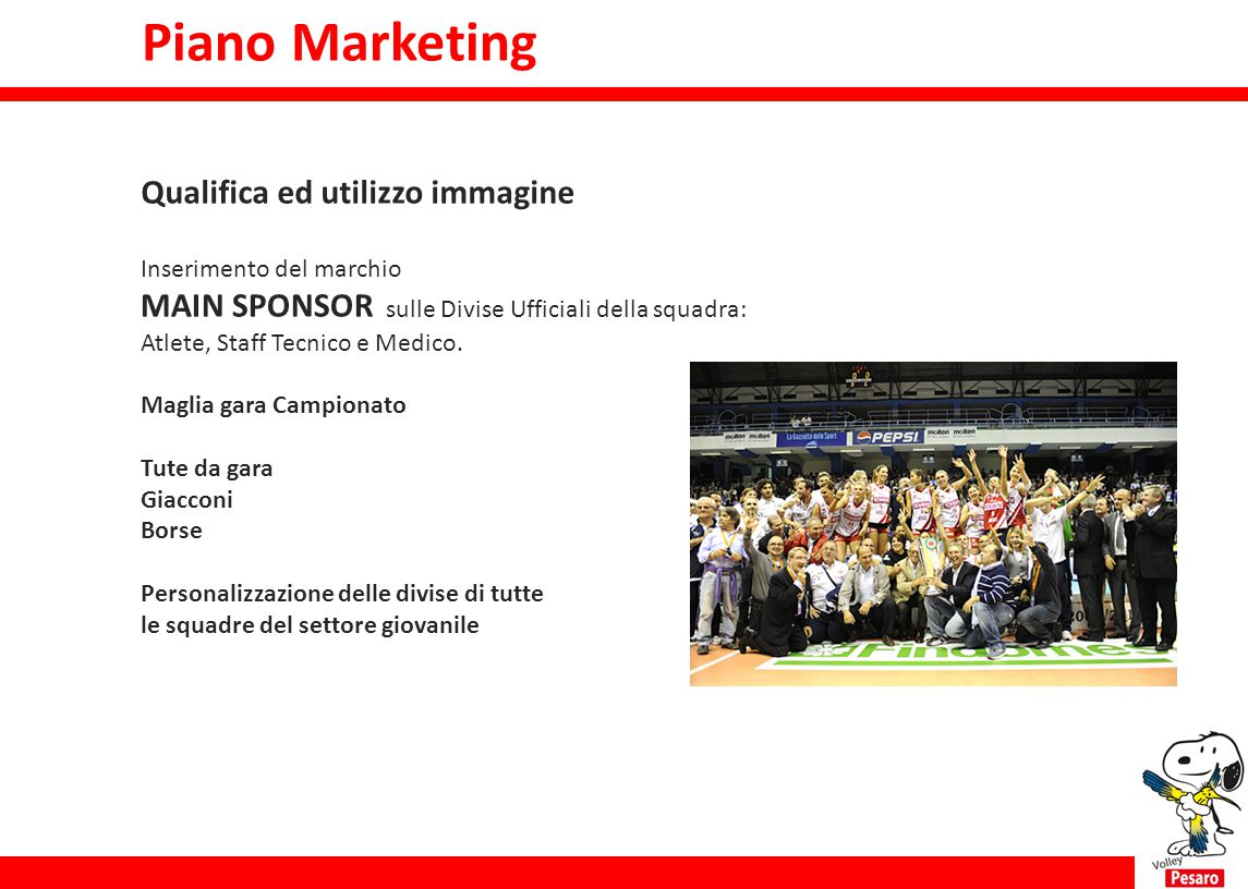 Piano Marketing Piano Marketing Qualifica ed utilizzo immagine