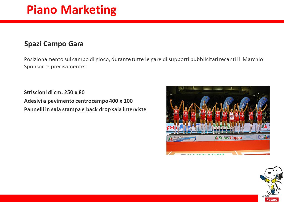 Piano Marketing Piano marketing Spazi Campo Gara