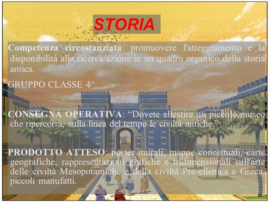 STORIA Competenza circostanziata: promuovere l atteggiamento e la disponibilità alla ricerca/azione in un quadro organico della storia antica.