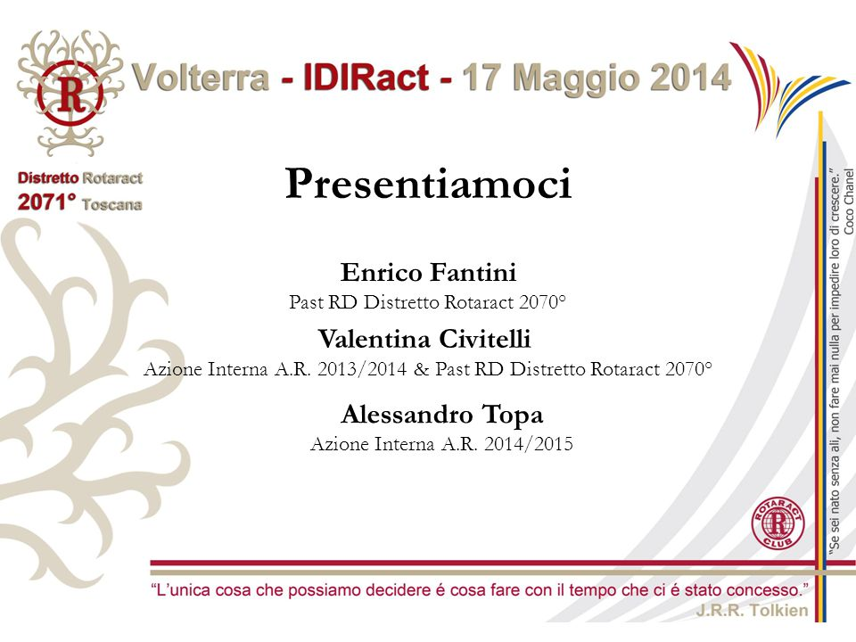 Presentiamoci Enrico Fantini Valentina Civitelli Alessandro Topa