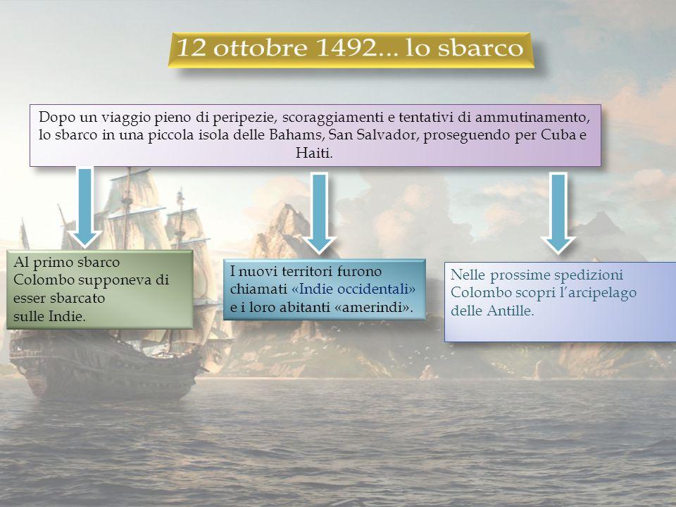 12 ottobre 1492... lo sbarco Dopo un viaggio pieno di peripezie, scoraggiamenti e tentativi di ammutinamento,