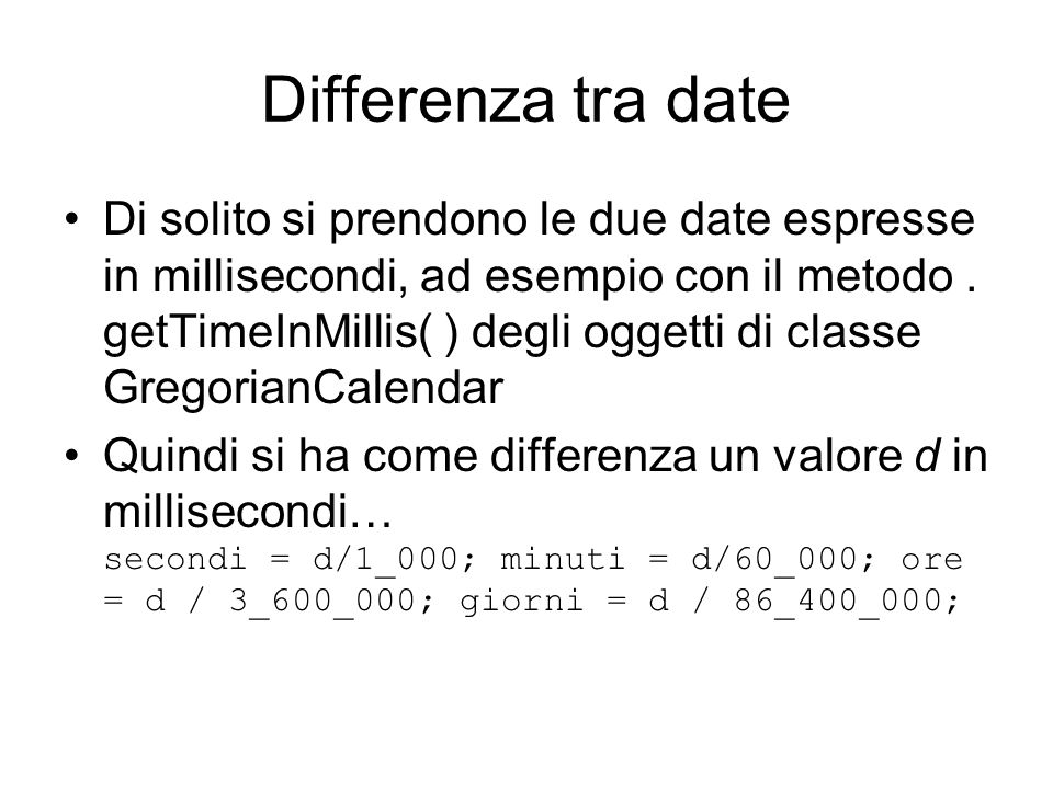 Differenza tra date