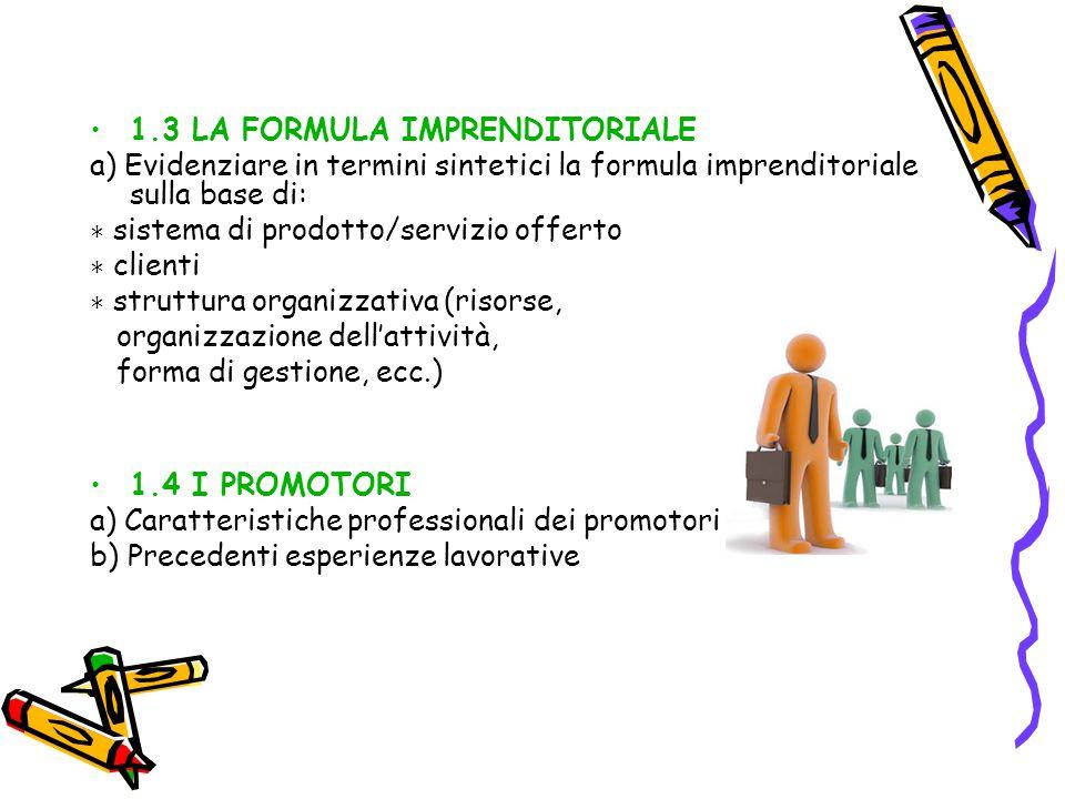 1.3 LA FORMULA IMPRENDITORIALE