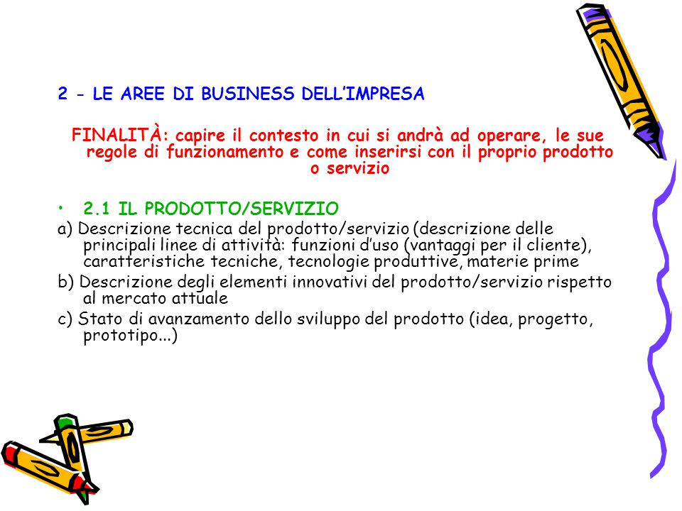2 - LE AREE DI BUSINESS DELL'IMPRESA