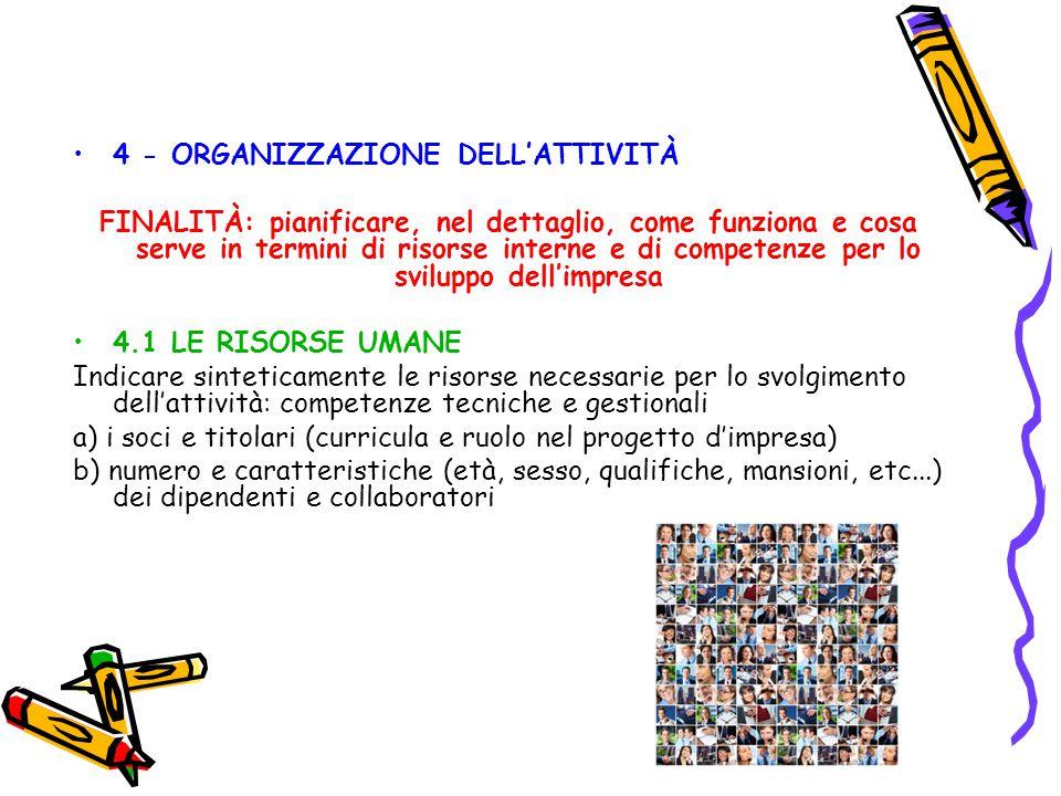 4 - ORGANIZZAZIONE DELL'ATTIVITÀ