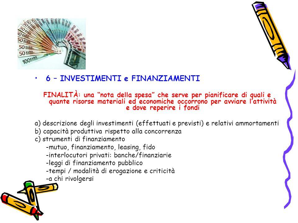 6 – INVESTIMENTI e FINANZIAMENTI