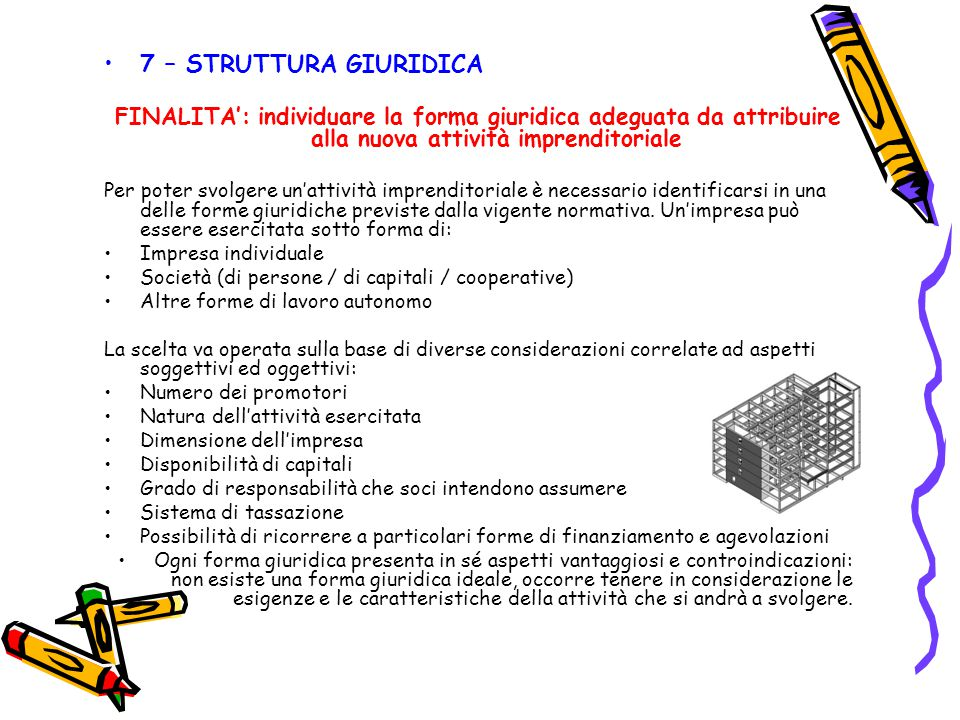 7 – STRUTTURA GIURIDICA FINALITA': individuare la forma giuridica adeguata da attribuire alla nuova attività imprenditoriale.