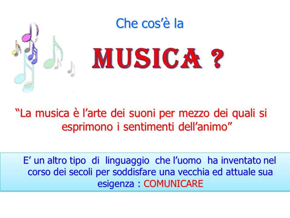 Che cos'è la Musica La musica è l'arte dei suoni per mezzo dei quali si esprimono i sentimenti dell'animo