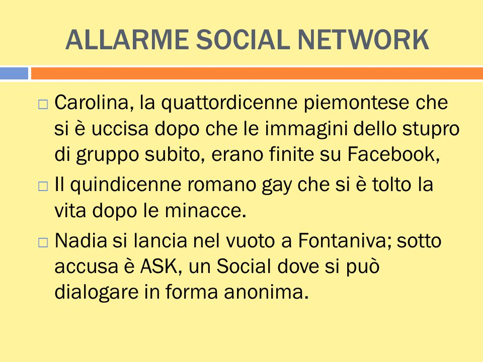 ALLARME SOCIAL NETWORK