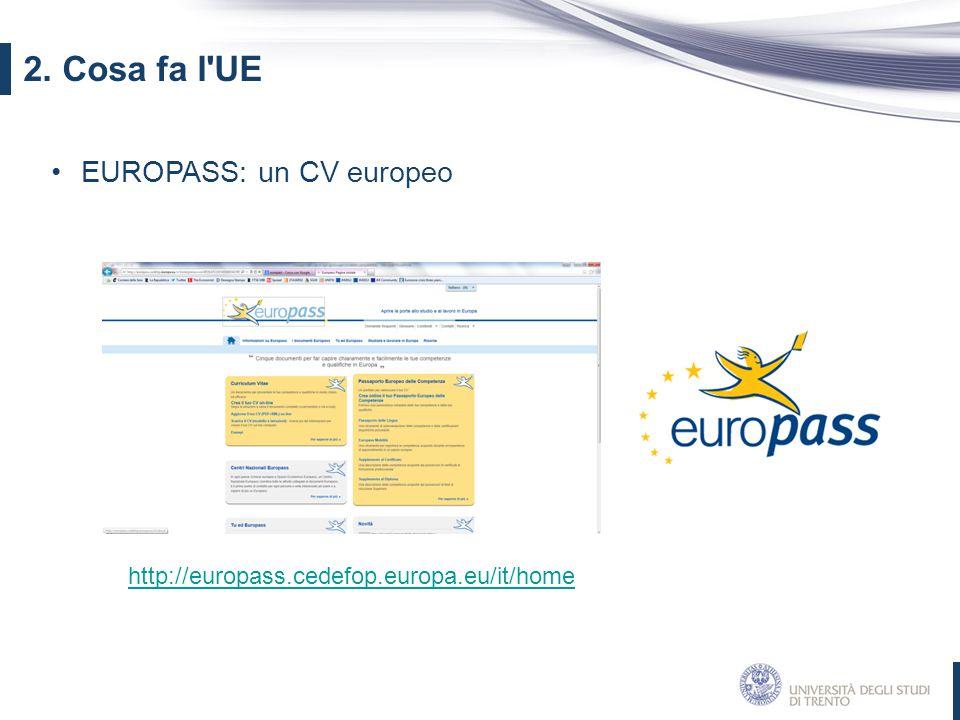2. Cosa fa l UE EUROPASS: un CV europeo