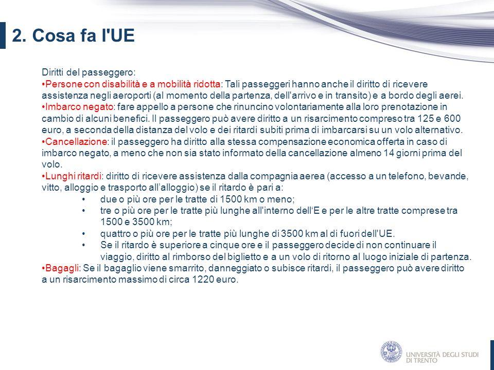 2. Cosa fa l UE Diritti del passeggero:
