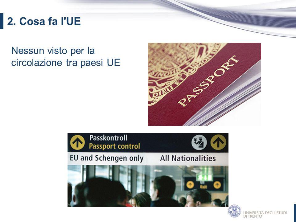 2. Cosa fa l UE Nessun visto per la circolazione tra paesi UE