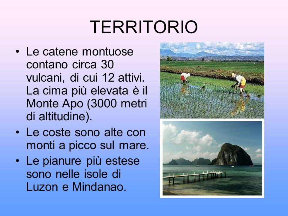 TERRITORIO Le catene montuose contano circa 30 vulcani, di cui 12 attivi. La cima più elevata è il Monte Apo (3000 metri di altitudine).