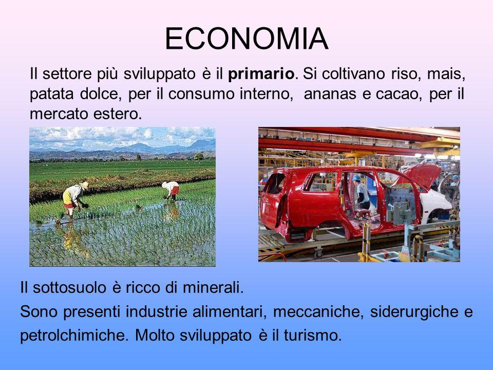 ECONOMIA Il settore più sviluppato è il primario. Si coltivano riso, mais, patata dolce, per il consumo interno, ananas e cacao, per il.