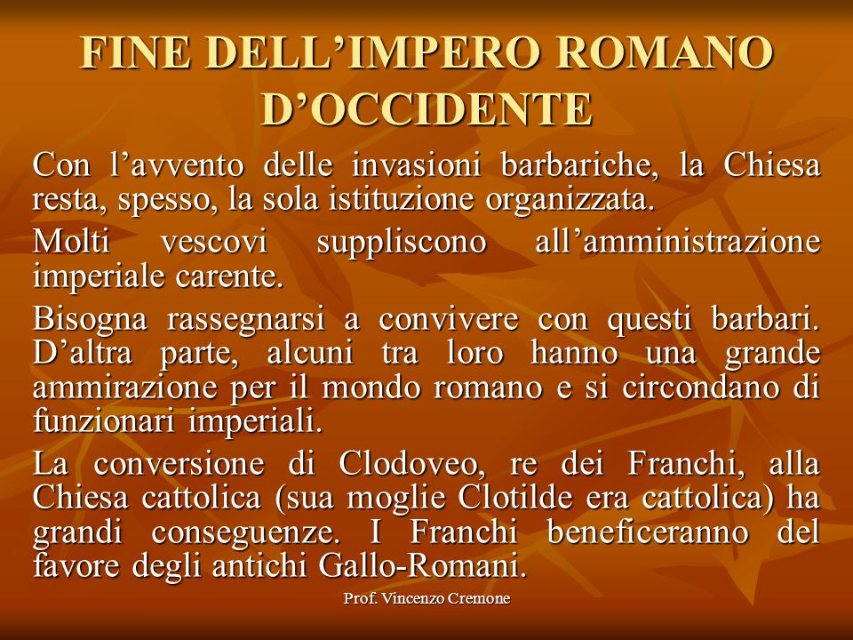FINE DELL'IMPERO ROMANO D'OCCIDENTE